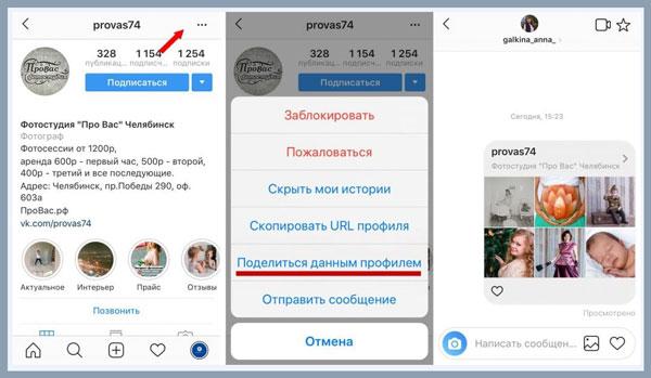 podelitsya ssylkoj na profil v direkt