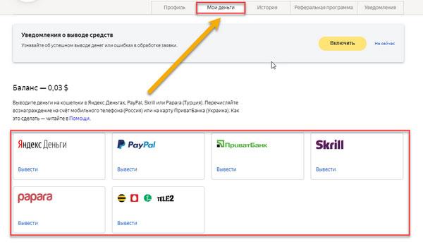 Способы вывода средств с Яндекс Толока