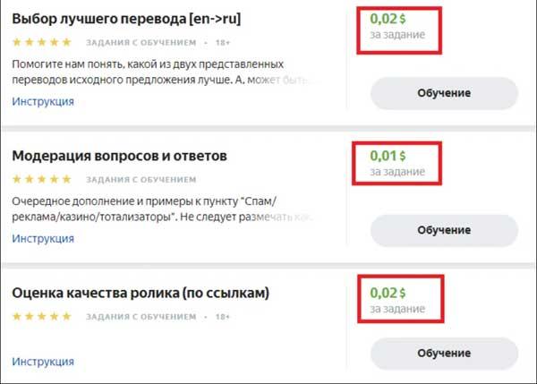 Примеры онлайн заданий на Яндекс Толока